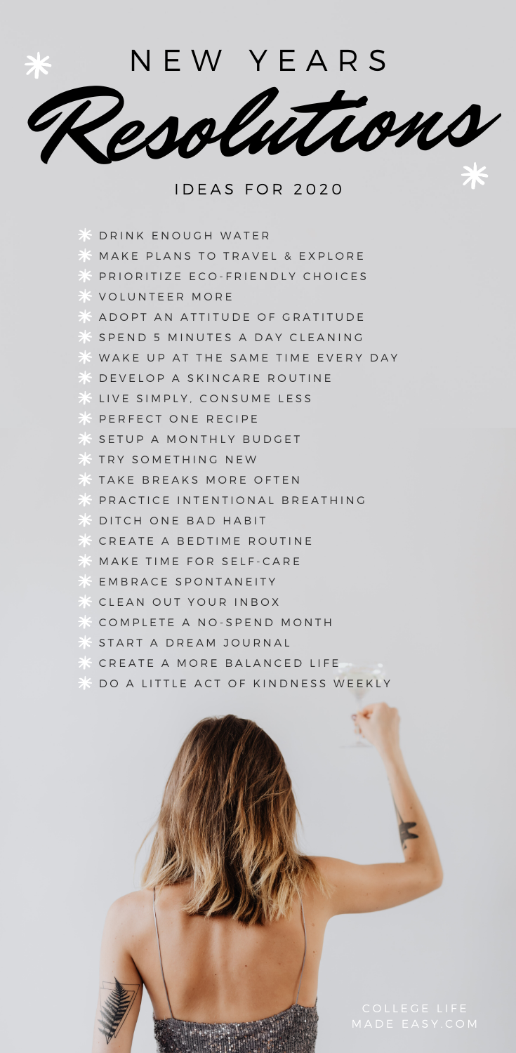 list of new year's resolutions ideas 2020