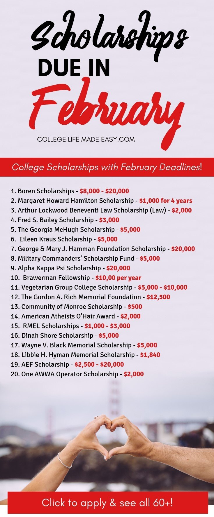 2019 college scholarships all with deadlines in February. Don't let these deadlines pass you by! There are scholarships for high school, undergraduate and graduate students. Click to see all 60+ opportunities! #scholarships #scholarship #college #collegelife #student #seniors #freshmen #gradschool