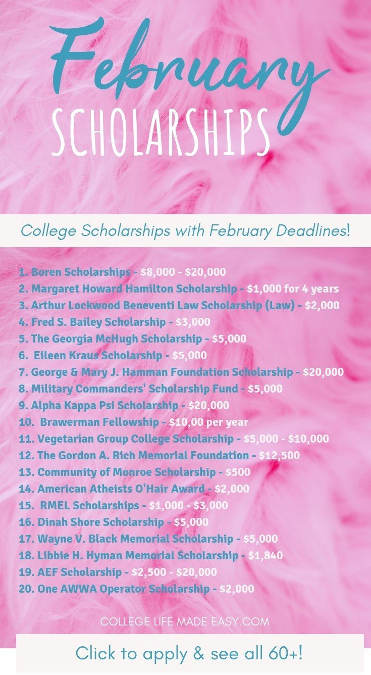 February scholarships for college that you can apply for this year! Over 60 deadlines for 2019. Scholarships are available to high school students, undergraduate school students, and graduate school students. Click to see them all! #scholarships #scholarship #college #collegelife #student #seniors #freshmen #gradschool