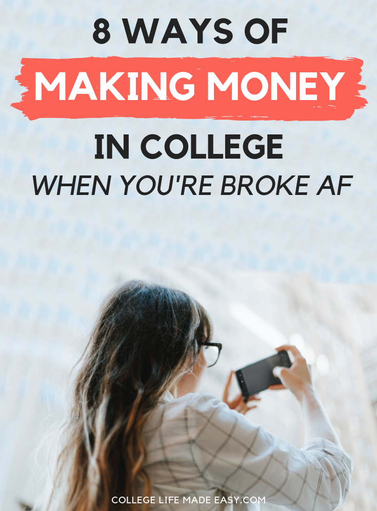 Being broke all the time SUCKS! But in this post, I'll show you 8 easy ways to make money as a busy student. These are extra cash opportunities you can score without a job. Click to see 8 ideas that work around your schedule! #college #collegelife #sidehustle #makingmoney #appsthatpay #extramoney #makemoneyonline #sidehustleideas #student #student #finance #payoffdebt