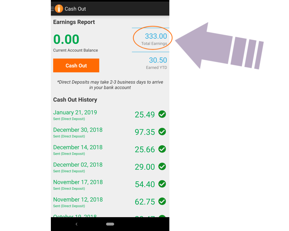 field agent earnings screenshot - money making app for college students