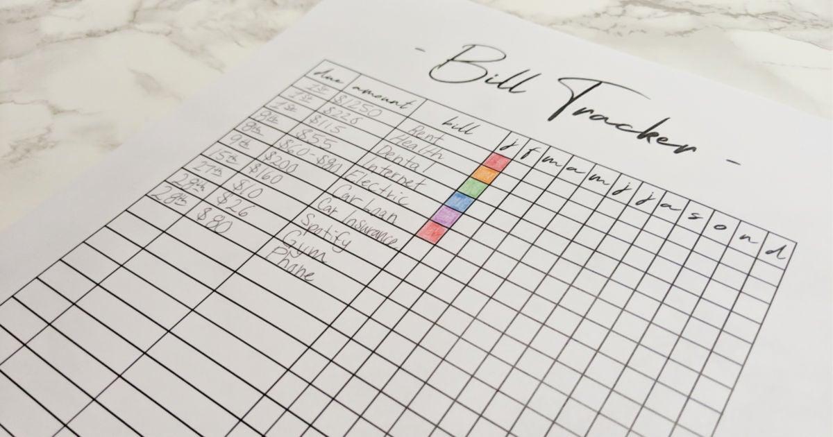monthly bills template