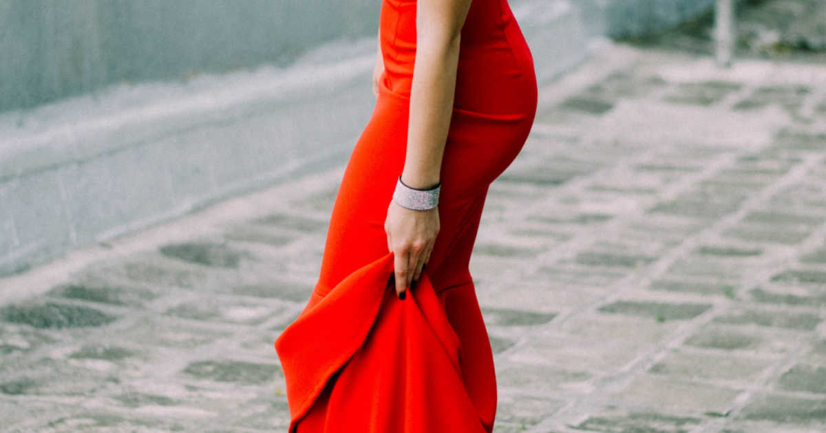 red gown, women's arm