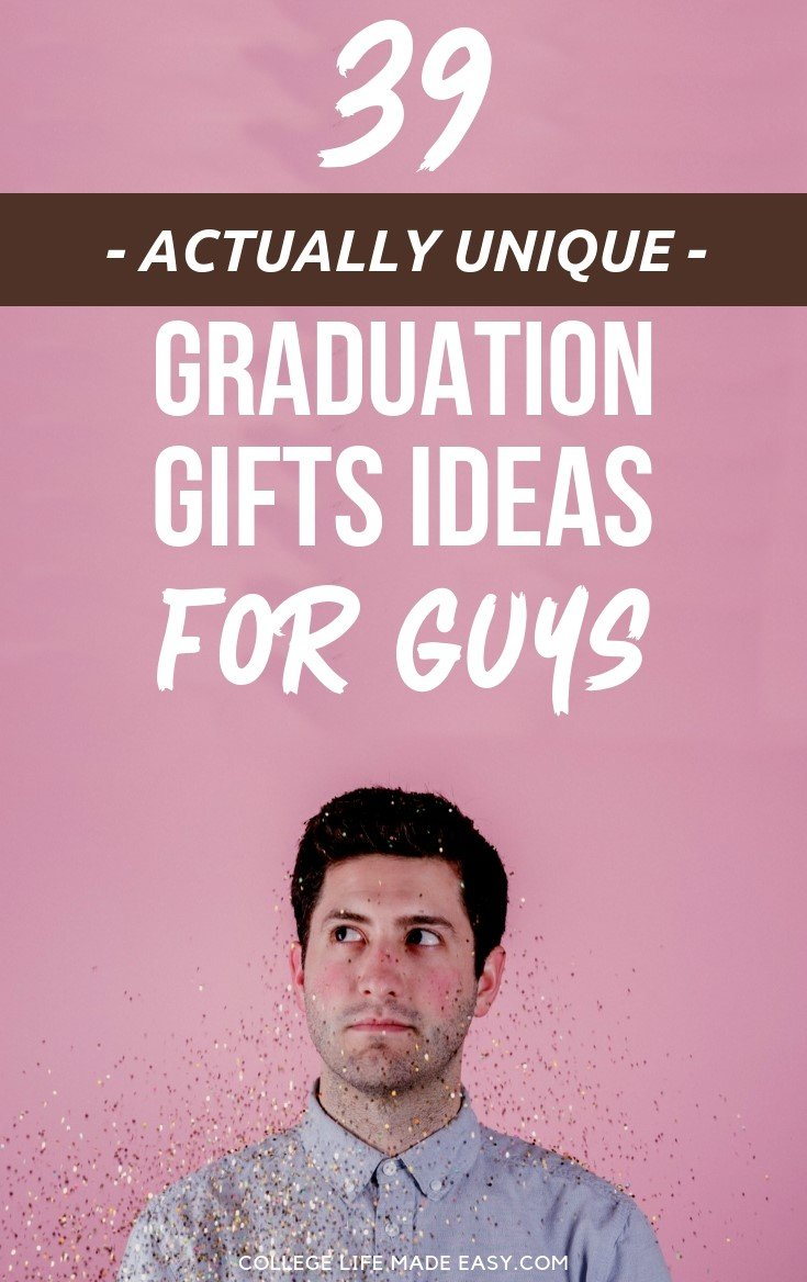 Gift ideas for boys on college graduation, 39 ideas that are actually unique (and awesome) for 2019. This all-inclusive guide has ideas for a son, a  brother, a boyfriend, etc. Plus there are gifts for last minute shoppers and budget-friendly (but still meaningful) choices. Click to read!