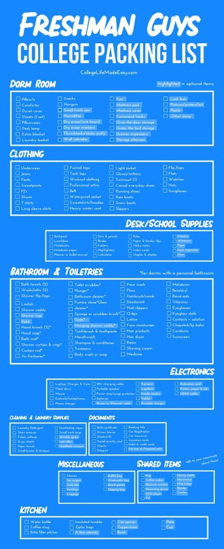 The ultimate college packing lists for guys and girls. All the stuff you'll ACTUALLY use in a dorm room as a freshman. Grab the free printable PDF by clicking! #college #collegetips #freshman #freshmantips #freshmanadvice #millennials #backtoschool #collegelife #student #studentlife