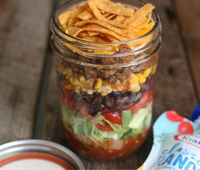 easy healthy college meals - taco salad in a jar