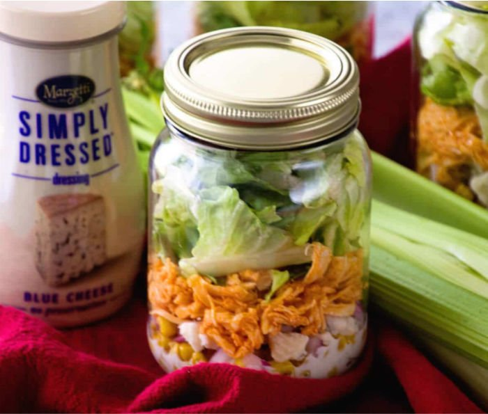 healthy cheap food for college - buffalo chicken salad jar