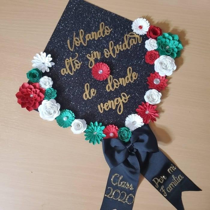 """volando alto sin olvidar de donde vengo"" Mexican inspired grad cap design"