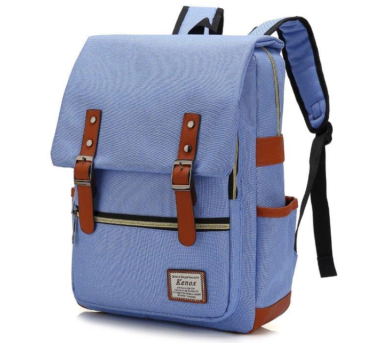 Blue college backpacks for girls