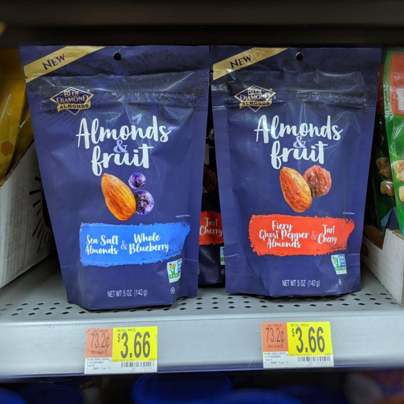 Almonds & Fruit on Shelf at Walmart