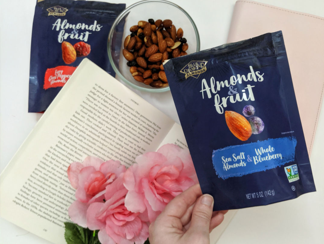 sea salt almonds & whole blueberries in hand