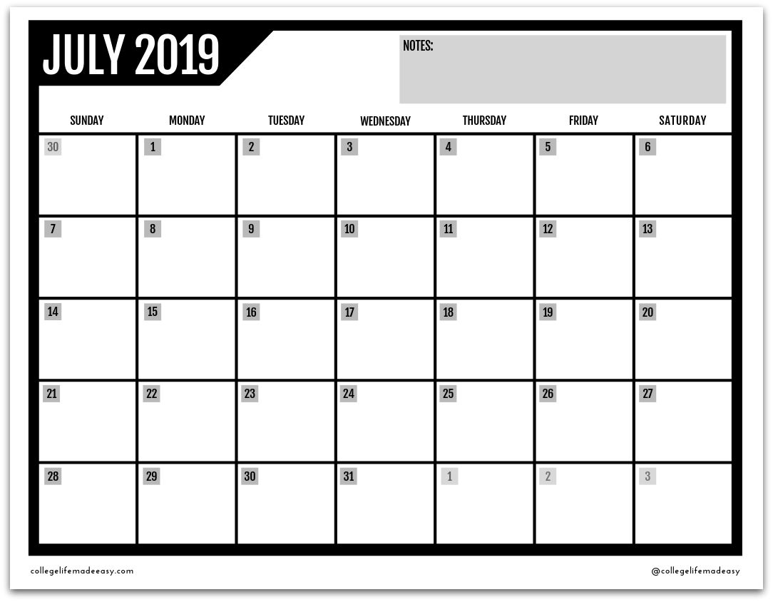 FREE Printable 2019 Monthly Calendar (3 Cute Designs!)