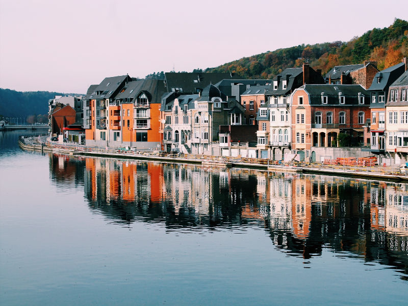 houses overlooking waterfront in Europe