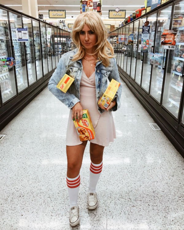 college girl dressed as Eleven from Stranger Things