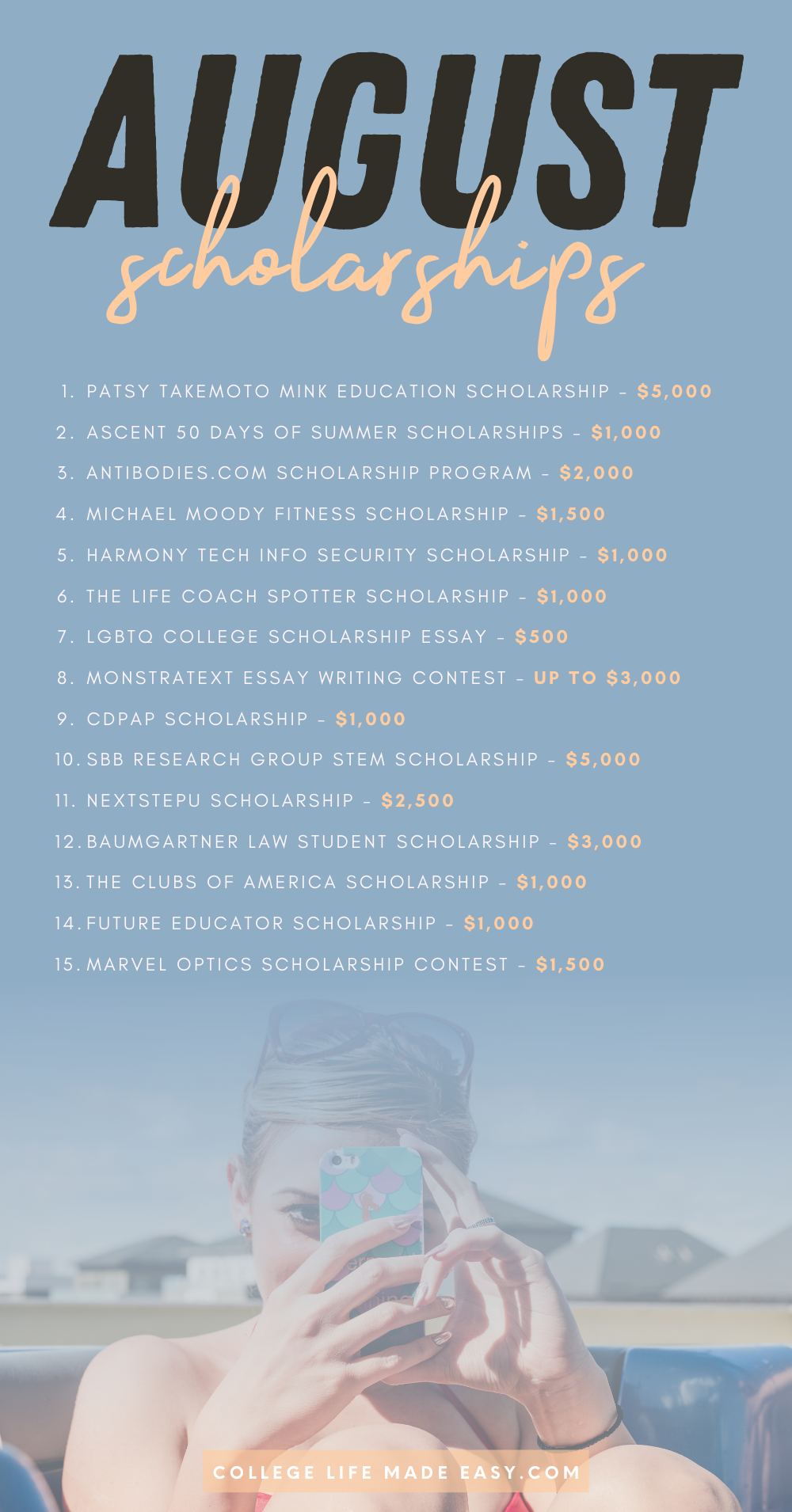 August scholarships list infographic
