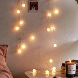 bulb string lights hanging in dorm