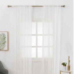 white mesh sheer curtains