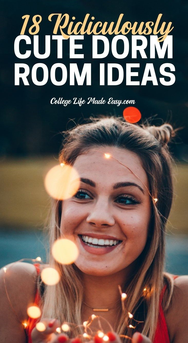 girl smiling because the dorm room ideas are so cute