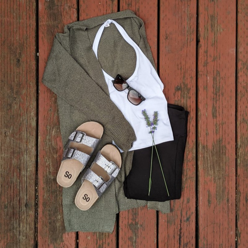 outfit: white halter top, green cardigan, folded leggings and sparkly sandals