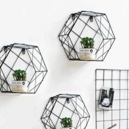 hexagon wall shelf for plants