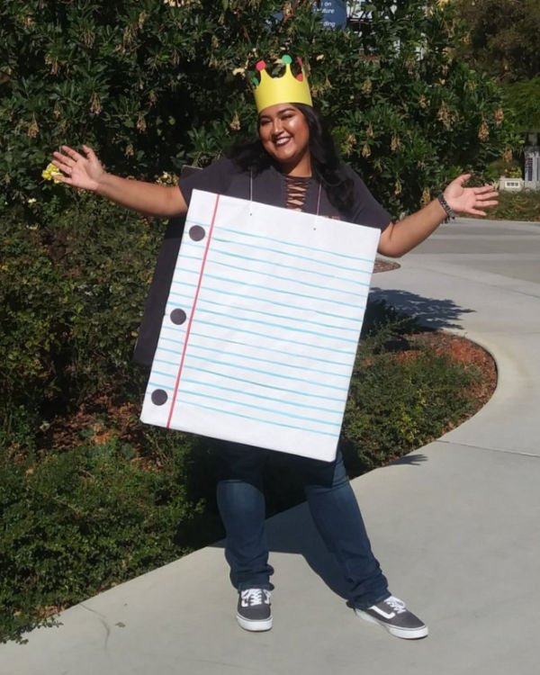 girl wearing college ruled costume