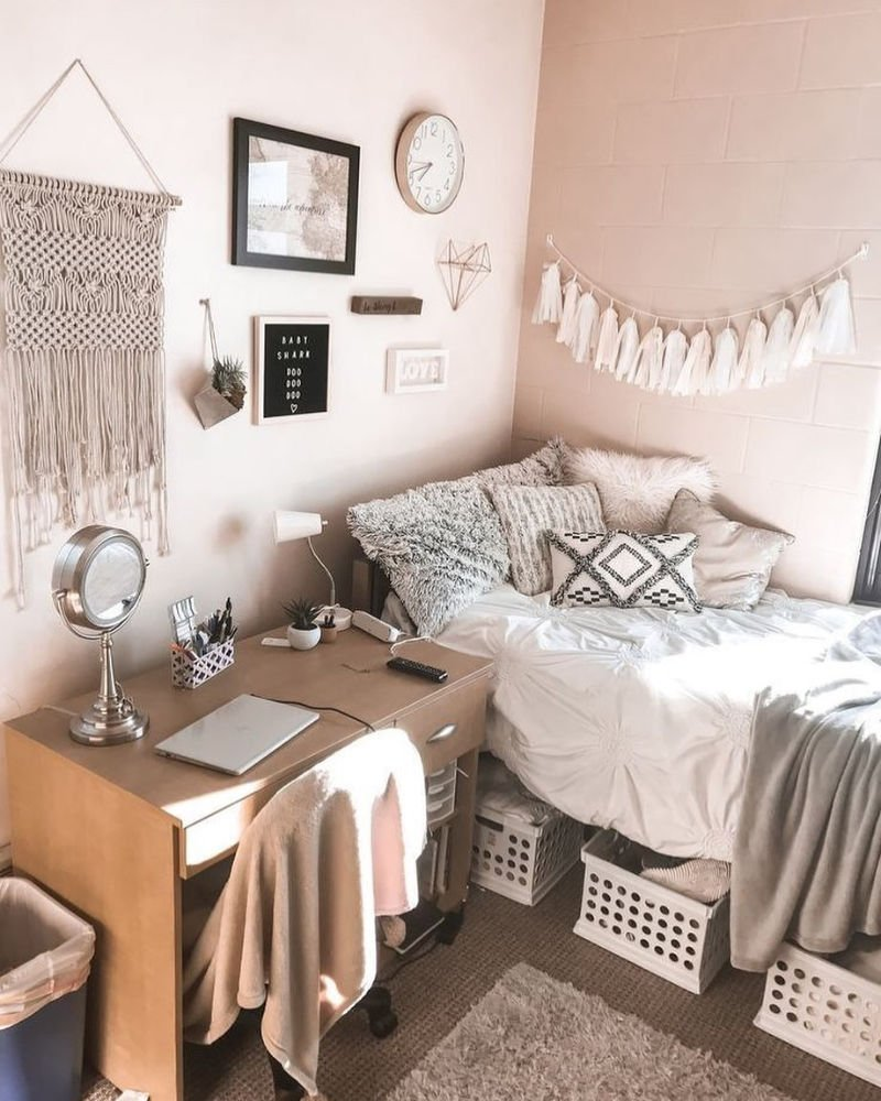 neutral themed college dorm room