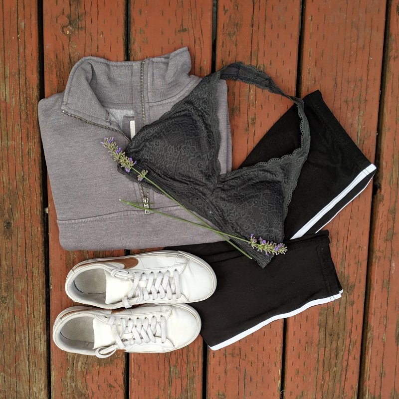 comfy outfit for school: grey sweatshirt, side stripe leggings, lace bralette