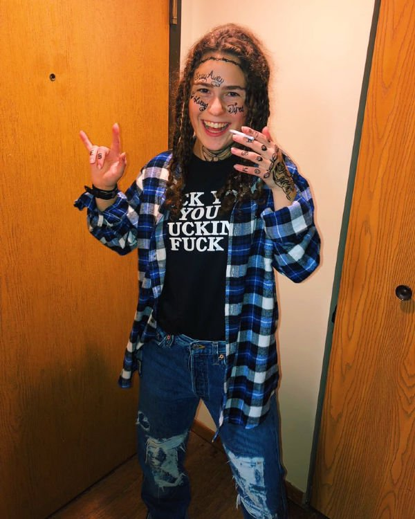 college girl dressed as Post Malone