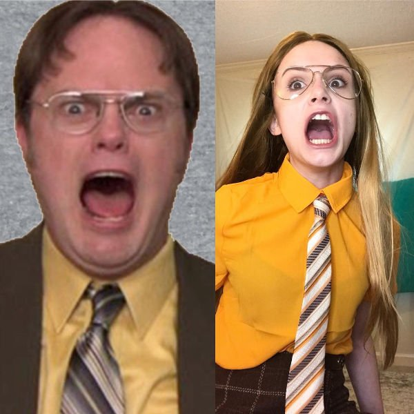 Girl in Dwight (the Office) costume