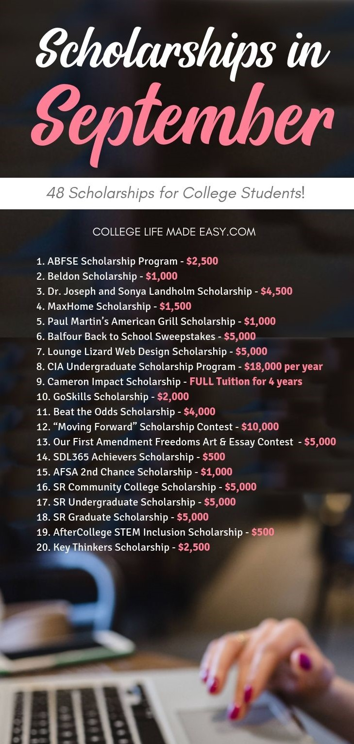 list of September scholarships
