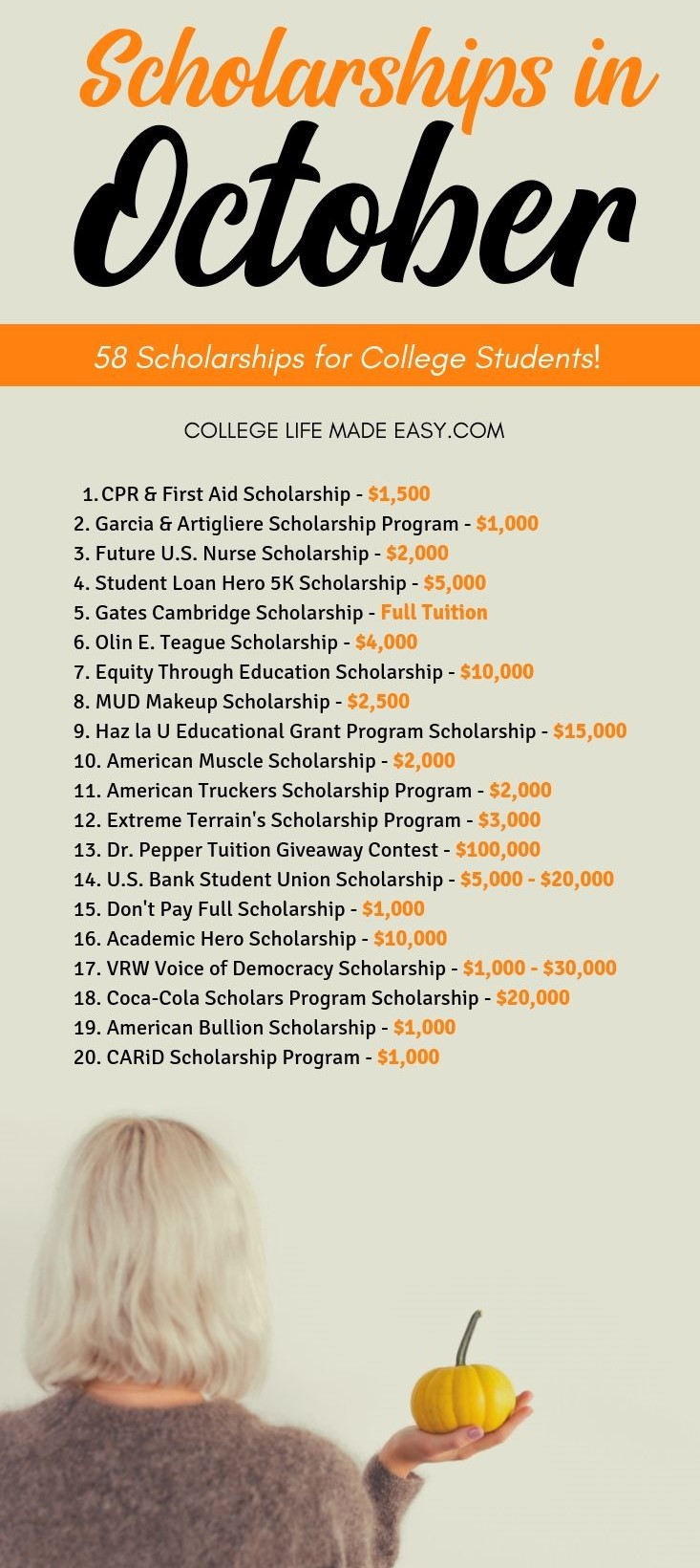 scholarships in October infographic