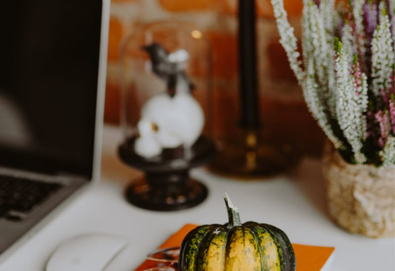 Halloween decor for October on a desk