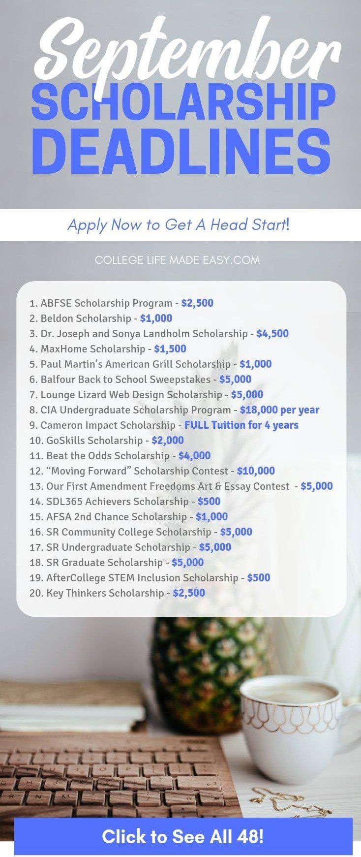 college scholarships with September deadlines infographic