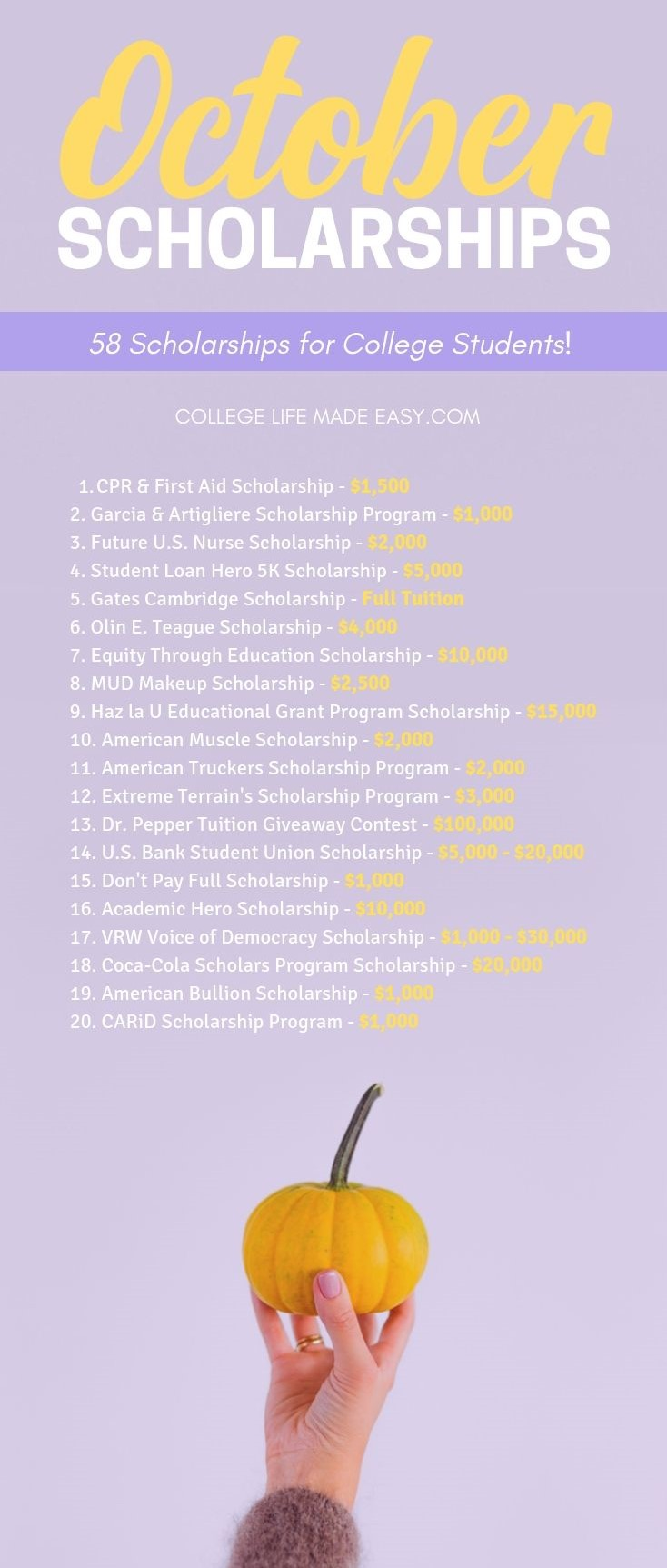 a list of October scholarships