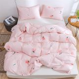 100% Cotton Duvet Cover Set Romantic Pink Bedding Set with Peaches Pattern Print Super Soft and Comfortable Twin