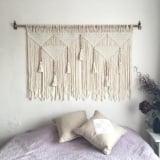 macrame headboard, geometric wall art decoration, large wall hanging,