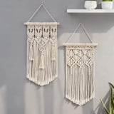 Hand-woven White Macrame Wall Hanging Banner Tassel Wall Art