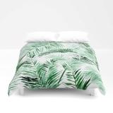 Palm Leaf Duvet Cover, palm bed cover, tropical duvet cover, green white duvet