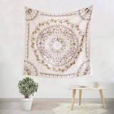 Sketched Floral Medallion Tapestry Bohemian Mandala Wall Hanging Tapestries Indian Art Mural for Bedroom Living Room Dorm Home Décor
