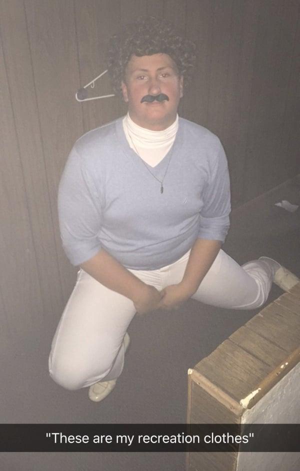 guy posing in his Nacho Libre Halloween costume