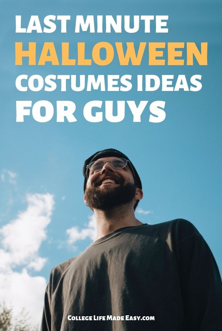 man smiling because he found last minute halloween costumes ideas for guys