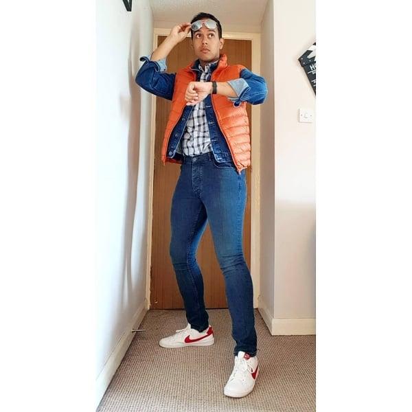 guy wearing marty mcfly Halloween costume