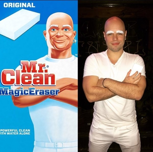 comparison of guys costume and mr clean man