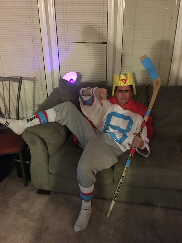 guy wearing king bob costume for halloween