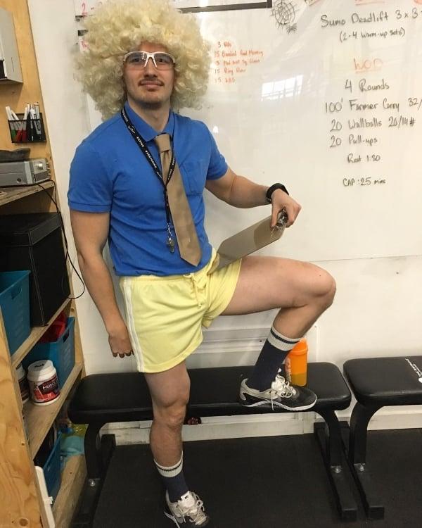 guy in gym teacher costume for Halloween