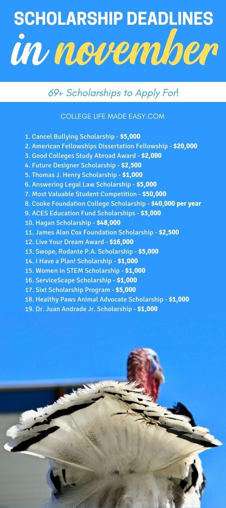 scholarship deadlines in november list