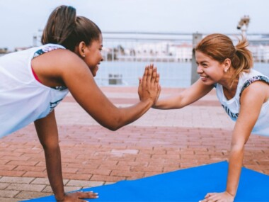 women working out and smiling