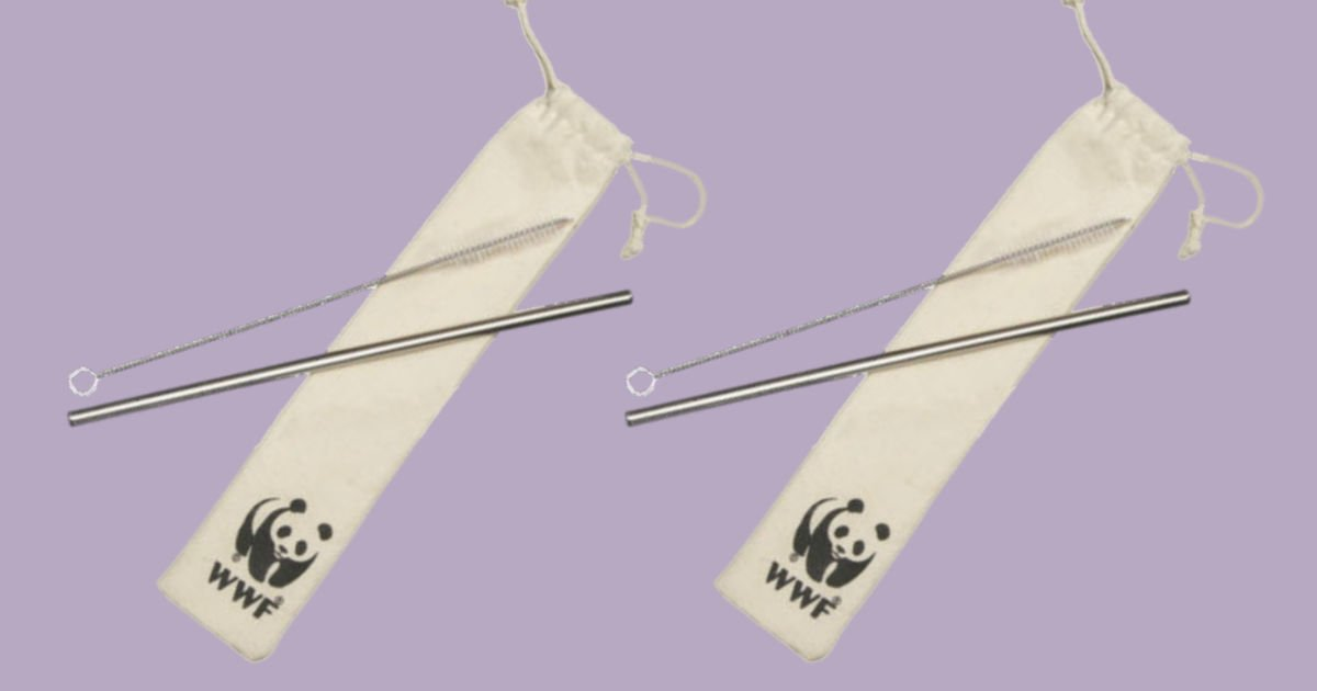 metal straw kit with the world wildlife fund logo on the drawstring bag