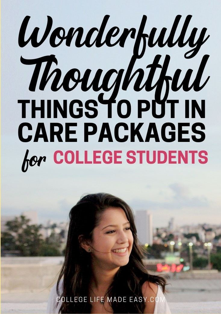 thoughtful ideas for a college care package infographic
