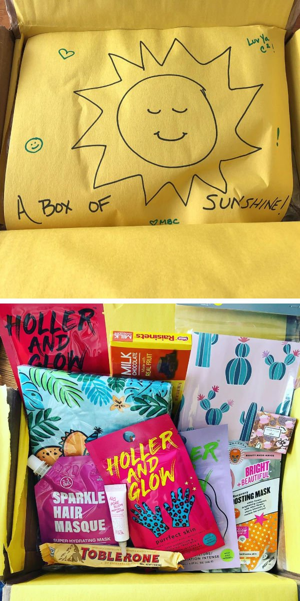 sun drawn on tissue paper. holler and glow beauty items in a care package